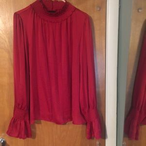 NWT Worthington red mock silky blouse